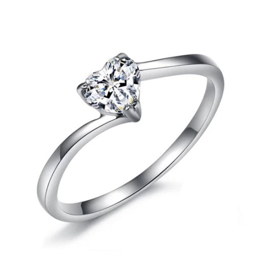 Trilliant Cut One Stone Titanium Engagement Ring with Swarovski