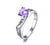 Curved Amethyst Titanium Engagement Ring with Swarovski