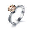 Solitaire Peach Topaz Titanium Engagement Ring
