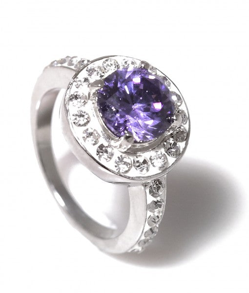 Amethyst Halo Titanium Engagement Ring with Swarovski