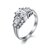 Emerald Cut Band Engagement Ring with Swarovski