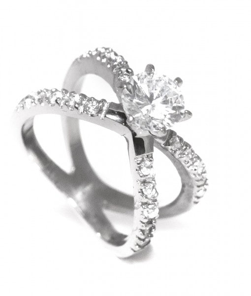 Cross Pave Setting Swarovski Titanium Engagement Ring