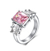 Pink Emerald Engagement Ring with Swarovski