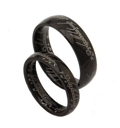 Script in Black Titanium Couple's Rings