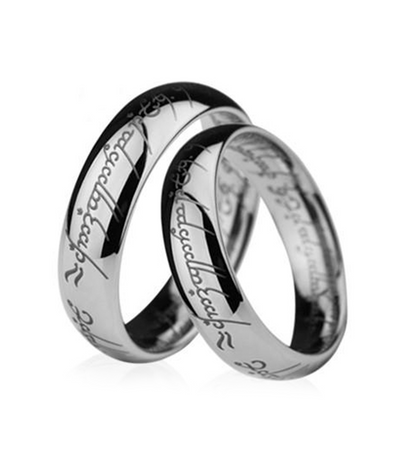 Script Plain Titanium Couple's Rings (Men)