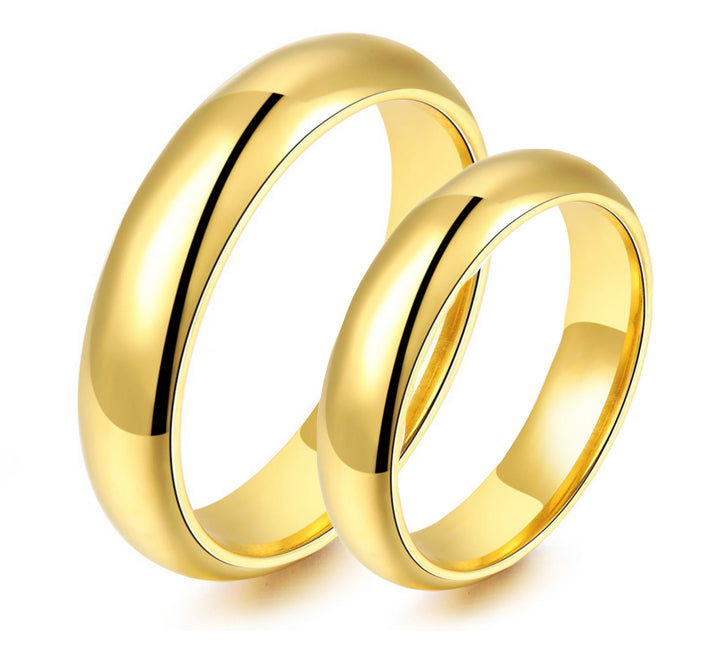 Classic Yellow Gold Plated Titanium Wedding Ring Zoey