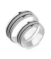 Frosted Silver Titanium Couple Ring