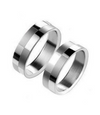 Pattern Squares in Silver Titanium Couple Ring