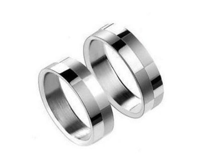 Pattern Squares in Silver Titanium Couple Ring (Men)