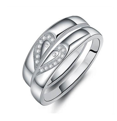 Half Hearts in Silver Titanium Wedding Ring with Swarovski Crystals (Men)