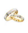 Frosted Two Tone Gold Plated Titanium Wedding Bands