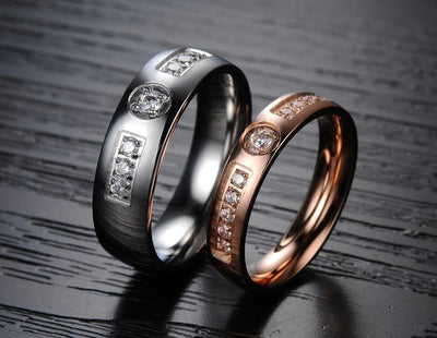 Dual Tone Titanium Wedding Ring with Swarovski Crystals (Men)