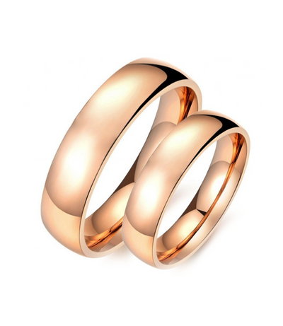 Smooth Rose Gold Plated Titanium Couple Ring (Men)