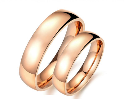 Smooth Rose Gold Plated Titanium Couple Ring