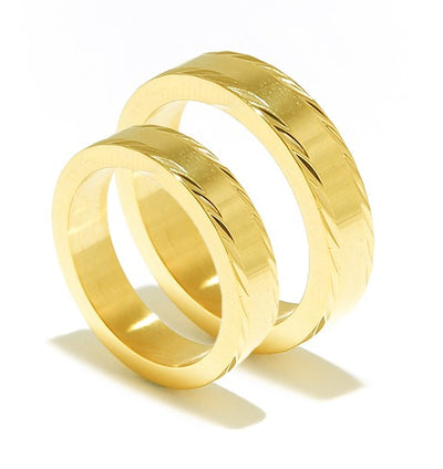 Polished Yellow Gold Plated Titanium Wedding Band (Unisex)
