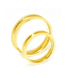 Frosted Yellow Gold Inlay Titanium Wedding Band