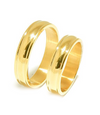 Yellow Gold Plated Groove Titanium Wedding Band