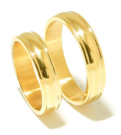 Yellow Gold Plated Groove Titanium Wedding Band (Unisex)