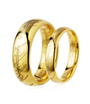 Script Yellow Plated Titanium Couple's Rings (Men)