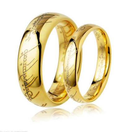Script Yellow Plated Titanium Couple's Rings