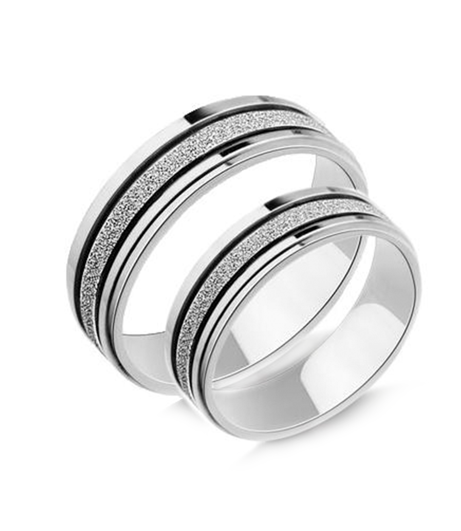 Frosted Silver Titanium Couple Rings