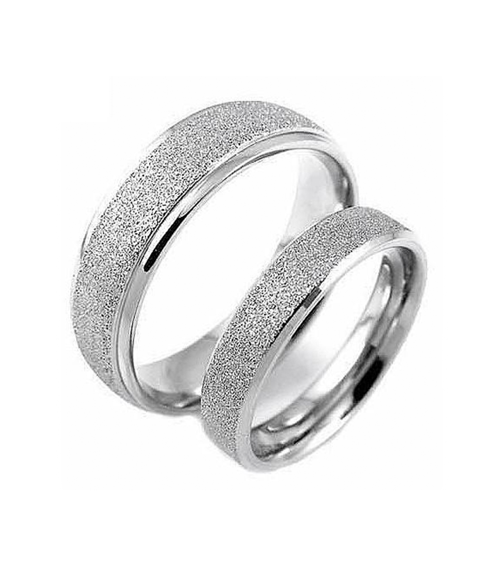 Silver Matte Titanium Couple Ring