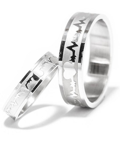 Heartbeat in Silver Titanium Couple Rings