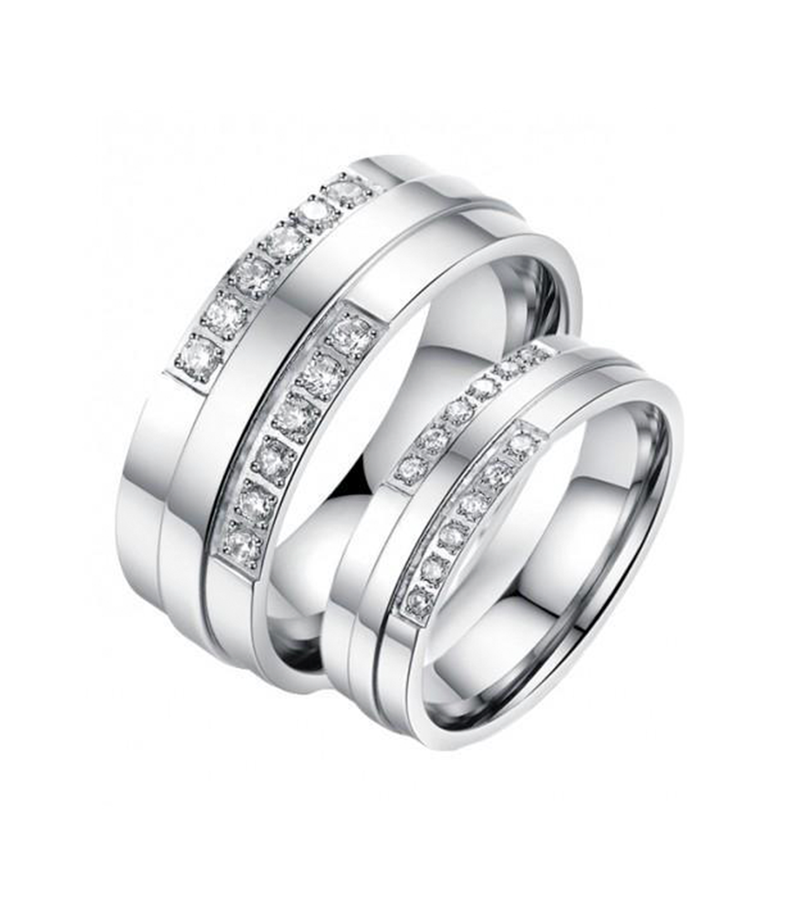 Double Swarovski Inlay Titanium Wedding Rings (Men)