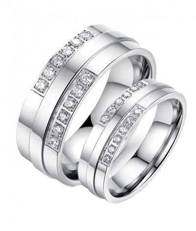 Double Swarovski Inlay Titanium Wedding Rings