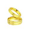 Frosted Yellow Gold Plated Titanium Wedding Bands