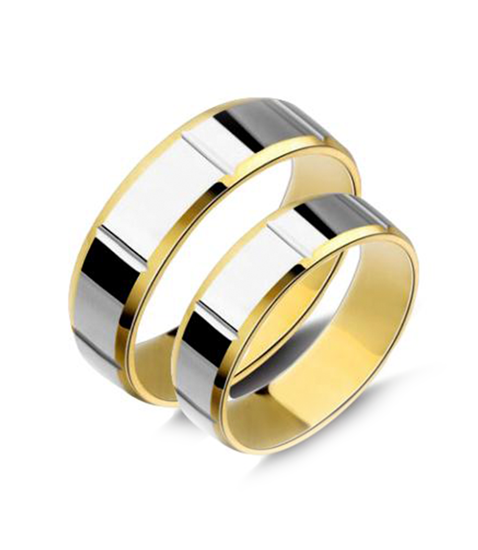 Smooth Two Tone Gold Plated Titanium Wedding Bands (Men)