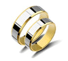 Smooth Two Tone Gold Plated Titanium Wedding Bands
