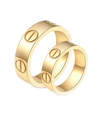 Yellow Gold Plated Screw Inspired Titanium Wedding Bands