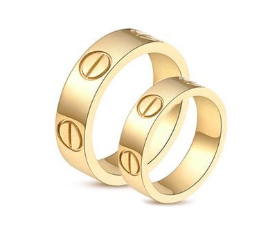 Yellow Gold Plated Screw Inspired Titanium Wedding Bands (Men)