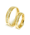 Yellow Gold Plated Swarovski Inlay Wedding Rings (Unisex)