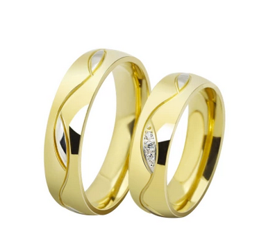 Swirl Swarovski Inlay Yellow Gold Wedding Bands