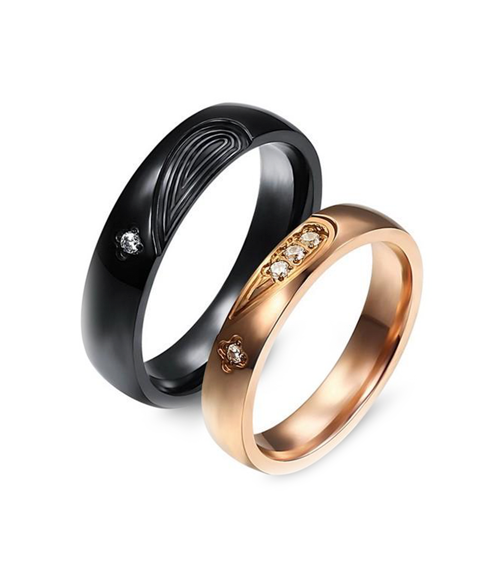 Dual Hearts in Black and Rose Gold Plated Titanium Wedding Ring