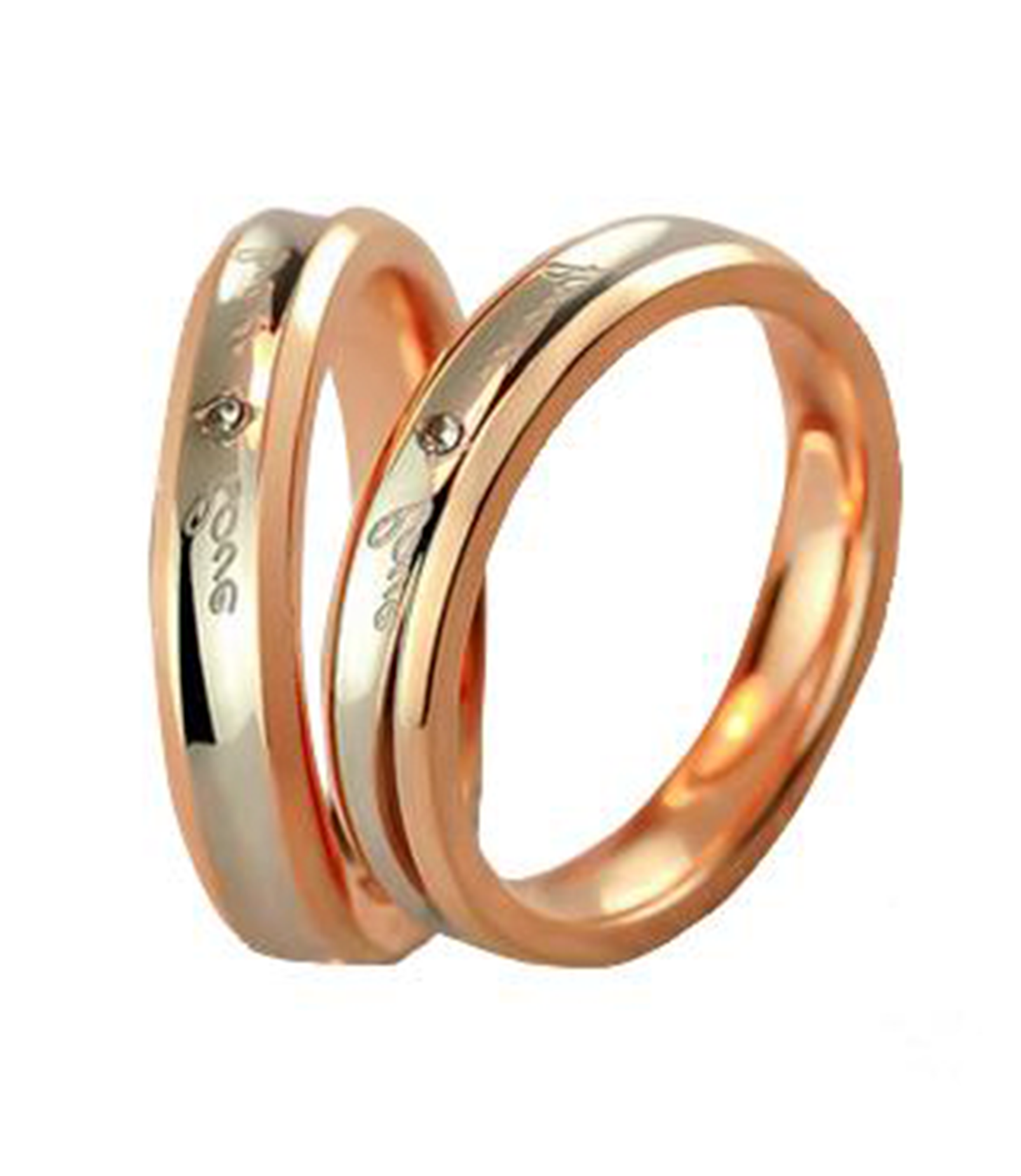 Forever Love Swarovski Rose Gold Plated Titanium Couple Ring
