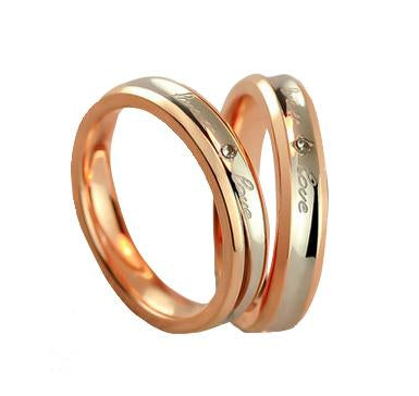 Forever Love Swarovski Rose Gold Plated Titanium Couple Ring (Unisex)
