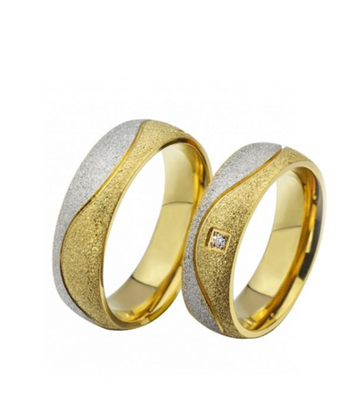 Swirl Frosted Yellow Gold Plated Titanium Wedding Ring (Men)