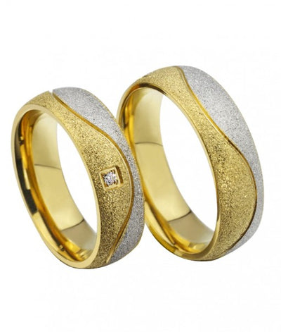 Swirl Frosted Yellow Gold Plated Titanium Wedding Ring