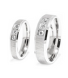 Crystal Inlay Three Stone Titanium Wedding Rings (Men)
