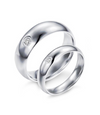Comfort Fit One Stone Titanium Wedding Ring