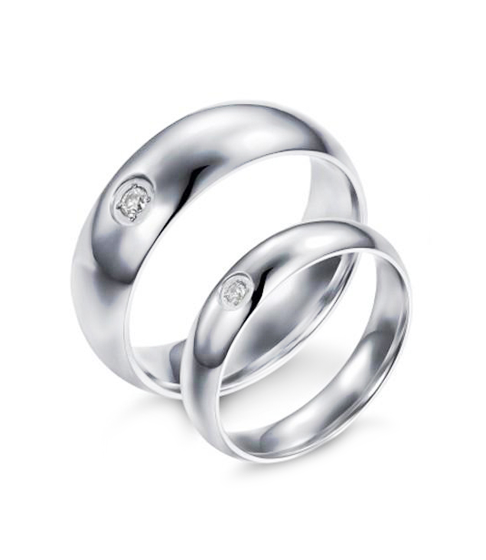 Comfort Fit One Stone Titanium Couple Ring