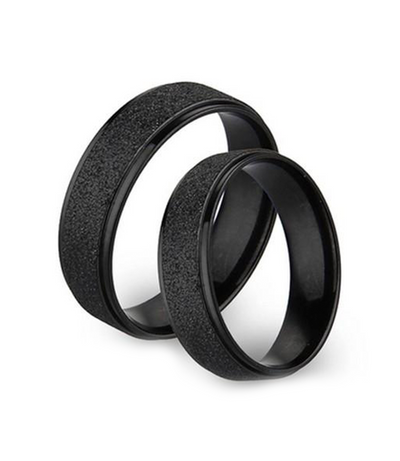 Frosted Black Titanium Couple Ring
