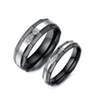 Black Hex Stone Inlay Titanium Wedding Ring