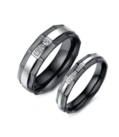 Black Hex Stone Inlay Titanium Wedding Ring (Men)