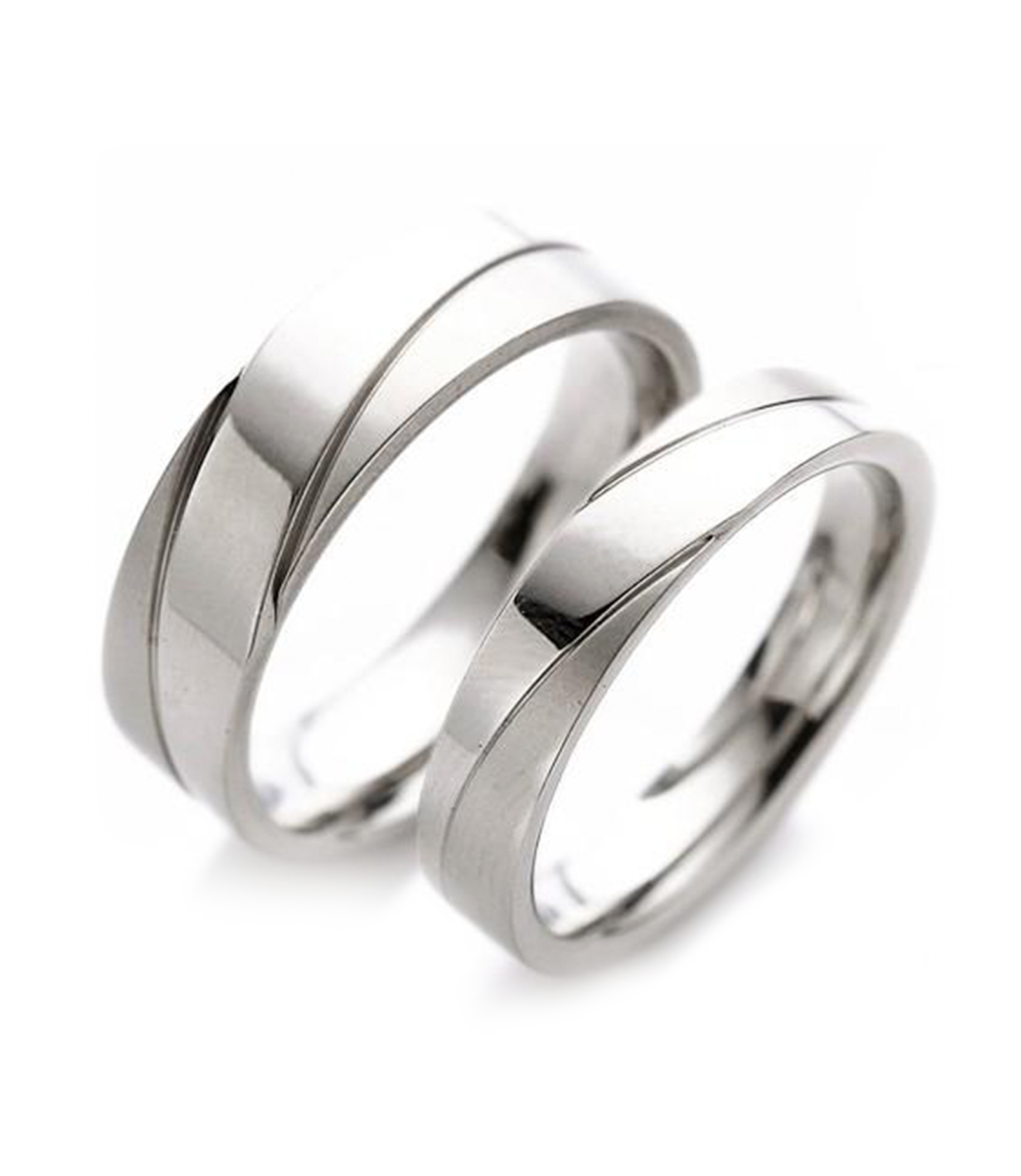 Polished Inlay Titanium Couple Ring (Men)