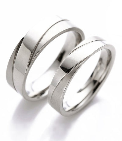 Polished Inlay Titanium Couple Ring