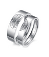 Heart Stone Swarovski Titanium Wedding Ring (Men)